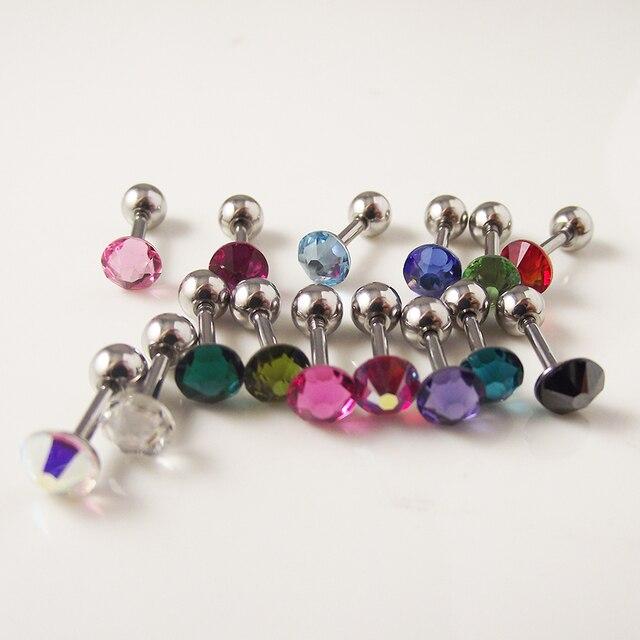 Фото 1 шт 316l хирургическая штанга нержавеющая сталь цвет cz кристалл