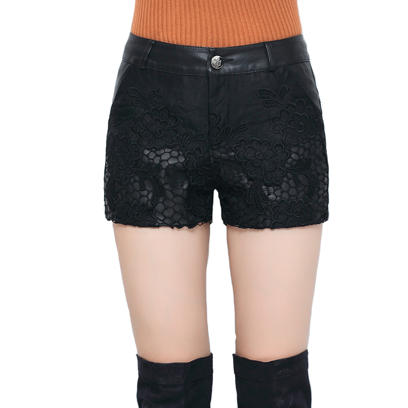 Lace Shorts Women Embroidery Spring Sexy Black Autumn Winter Plus-Size Flower PU
