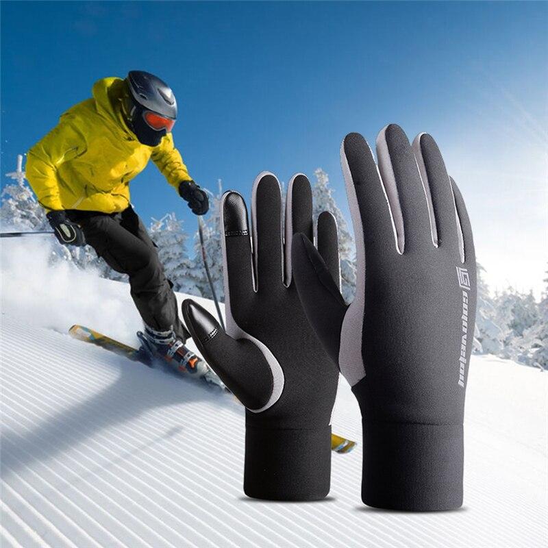 Esportes ao ar Luvas de Dedos Luvas de Snowboard Luvas de Esqui à Prova de Vento Livre Completos Bicicleta Inverno Velo Térmica Quente Touch Screen Luvas Longas