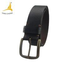 CNYANGCHENG Handmade 100 Cow Genuine Leather Belt Bronze Buckle Brown Casual Belt 4CM Wide Men