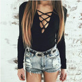 Women's V Neck Bondage hollow out Long Sleeve solid cotton bodysuit Lace Up Tie Front Stretch Playsuit Leotard Jumpsuit Overalls