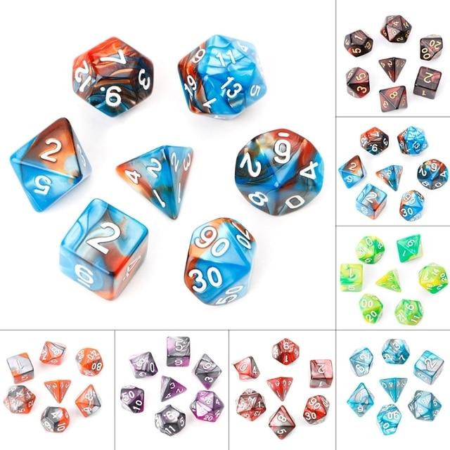 7 pçs/set Acrílico Board Game Dungeons E Dragons Dados Poliédricos Para TRPG d4 d6 d8 d10 d % d12 d20