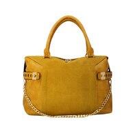 Genuine Suede Leather Chain Women Shoulder Bag Large Luxury Designer Women's Bucket Handbag Winter New Female Cow Crossbody Bag