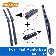 купить QEEPEI Front and Rear Wiper Blade no Arm For Fiat Punto Evo 2009-2012 High quality Natural Rubber windscreen 26''+15'' дешево