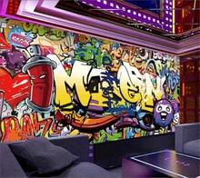 купить beibehang Custom wallpaper 3d mural fashion letters graffiti bar KTV background wall living room bedroom wallpaper papier peint дешево