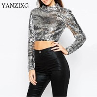 2019 Spring Heavy Sequins Crop Tops Female Turtleneck Long Sleeve Short T shirts For Women Sexy Fashion Clothes Q069