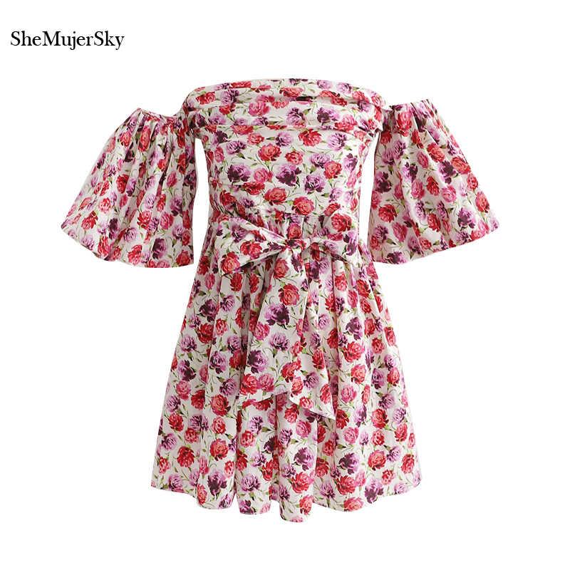 SheMujerSky с открытыми плечами Цветочное платье для женщин тонкий Бандаж Талия летние платья Пляжные вечерние модные vestidos verano 2019