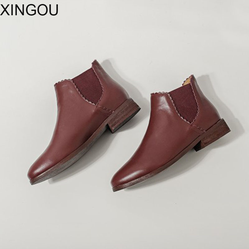 XINGOU Genuine Leather women's boots Fashion 2018 women Chelsea Boots solid Martin boot Female Pointed Toe Ankle women's Boots new arrival superstar genuine leather chelsea boots women round toe solid thick heel runway model nude zipper mid calf boots l63