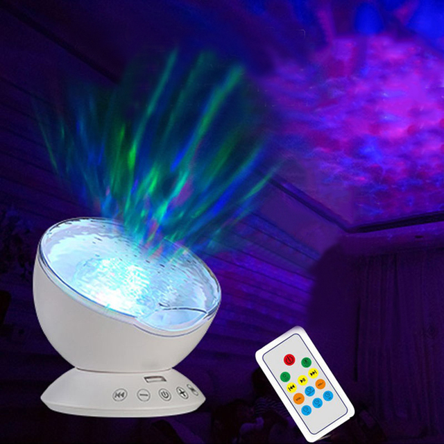 1x Newest Remote Control Ocean Wave Projector Rotating Night Light Music Player Tf Card Lamp