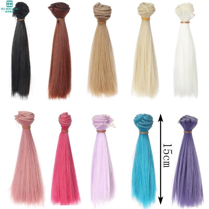 1 st 15cm * 100cm Rett peruker / hår för dockor BJD / SD docka DIY Högtemperatur saker för dockor
