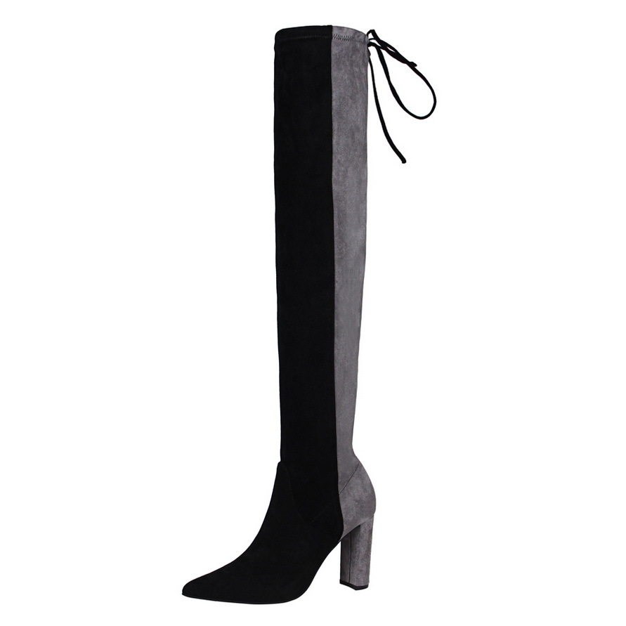 fashion Women simple black thick with high heeled suede pointed sexy night shop was thin pedicure knee boots female shoes