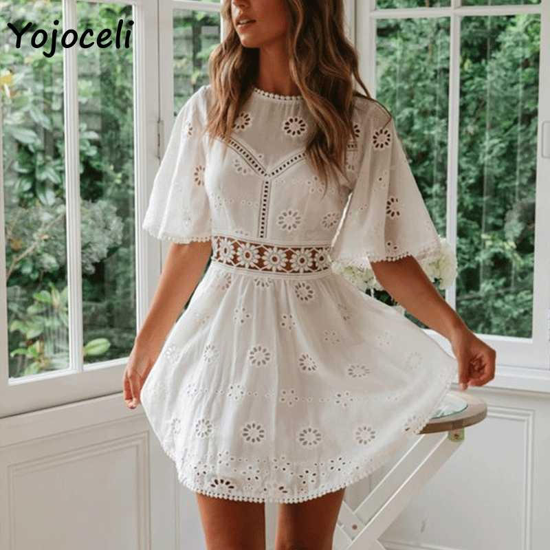 Yojoceli sexy blanc coton crochet robe creuse femmes flare manches coton broderie mini robe 2019 été robe de jour