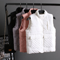 Candy colors winter European Women's Fashion Cotton quilting Vest women's winter Stand Collar Sleeveless plus size Jacket