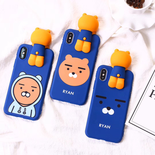 new concept 0dff7 5465d US $6.99 |For iPhone X Cute 3D Cartoon Ryan Lion bear phone Cases For  iphone X 5.8inch Bear / Rabbit kakao soft silicon case back cover-in Fitted  ...