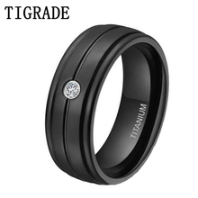 100% Non Allergy 7MM Men Women Titanium Black Wedding Band Rings CZ Inlay Size 7 to 13 free shipping usa hot selling unique 7mm titanium ring wedding band with resin inlay and 3 stone cz sizes 8 to 13