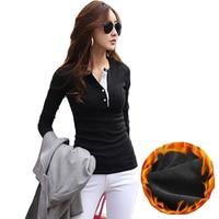 Women Winter Basic Blusas 2016 Autumn Fleece Thick T Shirt Fashion Slim Warm Tees Solid Long