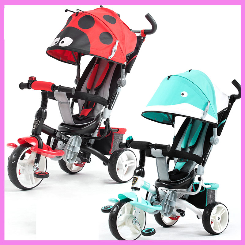 Child Baby Tricycle Driver Bike Baby Carriage Umbrella Stroller Trike Bicycle Shopping Basket Pram Buggies Pushchair 9 M~6 Y baby stroller pram bb rubber wheel inflatable tires child tricycle infant stroller baby bike 1 6 years old bicycle baby car