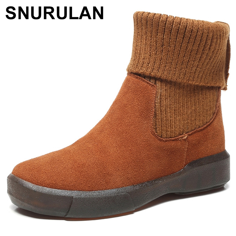 SNURULAN Brand Winter Shoes Women Boots Genuine Leather Slip On Round Toe Winter Snow Flats Chelsea Boots Ankle Boots Woman 2017 free genuine leather motorcycle boots biker shoes women pointed snow boots brand shoe famous designer woman flats