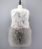 Korea Japan Style Genuine Women Girls Real Fox Fur Mongolian Kinky Wool Patchwork Vest Waistcoat Gilet Sleeveless Fur Coat