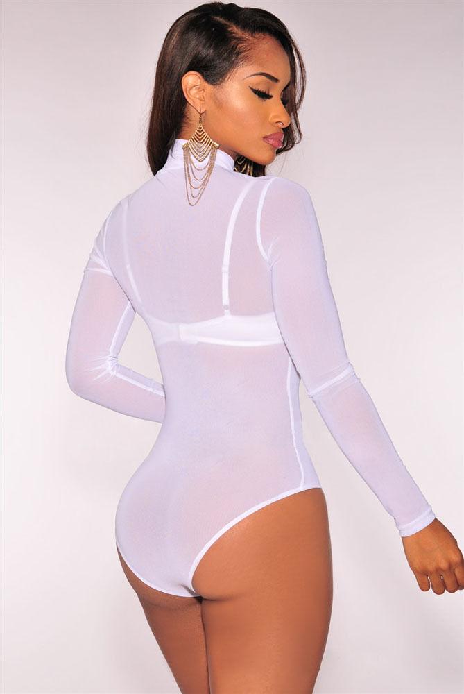 Transparent Sexy Mesh Bodysuit 5 colors Long Sleeve Jumpsuit Women s ... 15ecc528f
