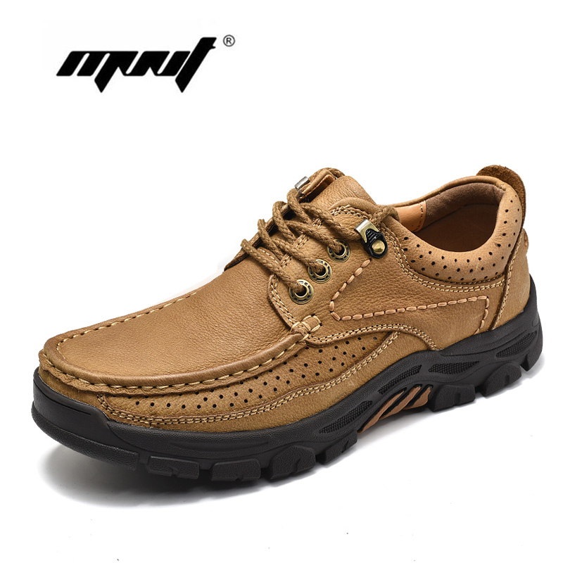 High Quality Genuine Leather Men Boots Lace Up Comfortable Autumn Ankle Boots Shoes Nonslip Rubber Outdoor