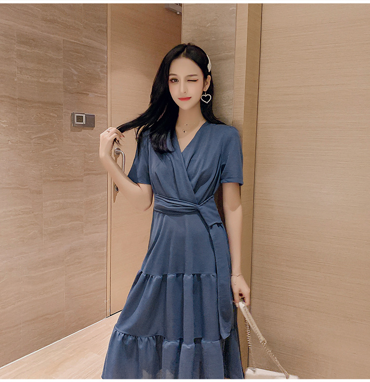 V neck tie waist dress 2019 new summer fairy super fairy sweet French small platy dress
