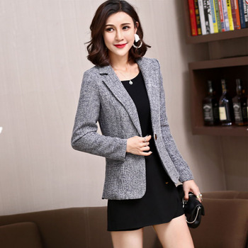 c7ce279097e Винтажный стильный офисный женский серый деловой костюм куртка маленький  блейзер с длинным рукавом Костюм Пальто Блейзер Куртка Верхняя о.