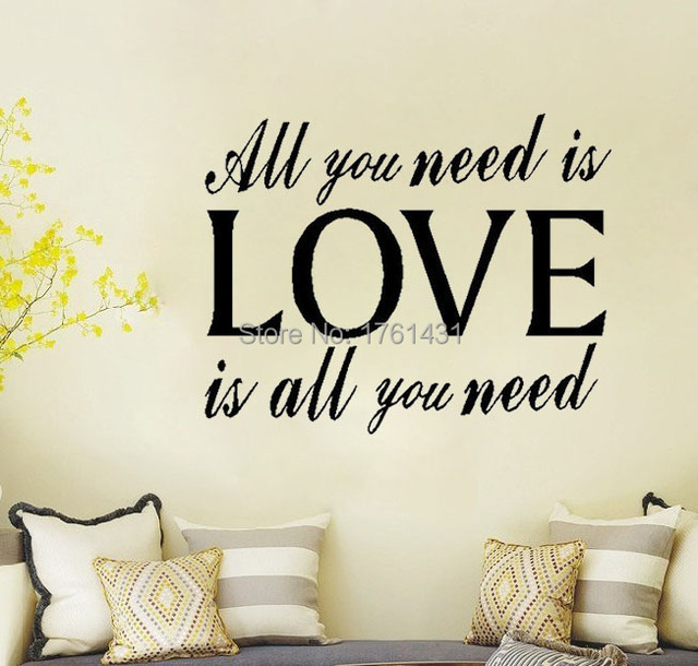 Lettering All You Need Is Love Words Quote Bedroom Living Room Wall ...
