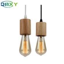 Free Shipping E27 Wooden Holder Pendant Lamps With Black Wire/White Wire Indoor Light For Clothes Shop Dinning Room Pub[D9564](China)