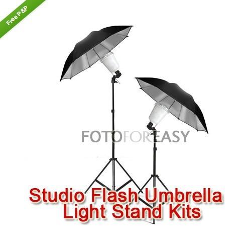 2X A45S Photography Studio Strobe Flash Light Bulb White Umbrella Lighting Stand Kit