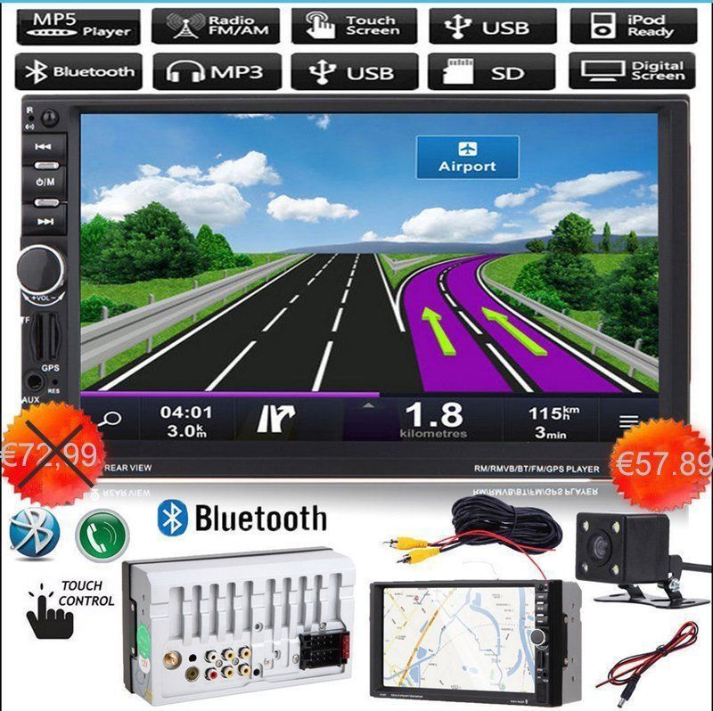 7018 2 Din 7 inch HD Touch Screen Bluetooth In Dash 12V Car Stereo Radio FM AUX USB MP3 MP5 Player With Camera And Remote in dash car touch usb sd mp3 mp5 player aux fm radio stereo bluetooth double din camera fashion item 17sept14