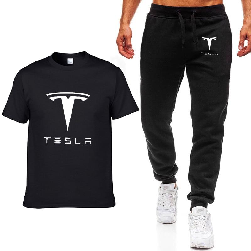 Fashion Summer Men T Shirts Tesla Car Logo Print HipHop Casual Cotton Short Sleeve High Quality T-shirt Pants Suit Men Clothing