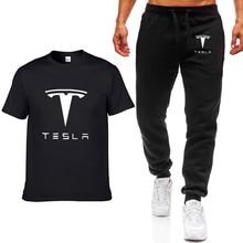 Fashion Summer Men T Shirts Tesla Car Logo Print HipHop Casu