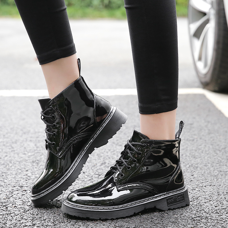Plus Size Shoes Woman Ankle Boots 2018 Fashion Patent Leather Boots Women Warm Plush Dr Martins Black Boots Winter Botas MujerPlus Size Shoes Woman Ankle Boots 2018 Fashion Patent Leather Boots Women Warm Plush Dr Martins Black Boots Winter Botas Mujer