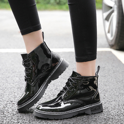 Plus Size Shoes Woman Ankle Boots 2018 Fashion Patent Leather Boots Women Warm Plush Dr Martins Black Boots Winter Botas Mujer