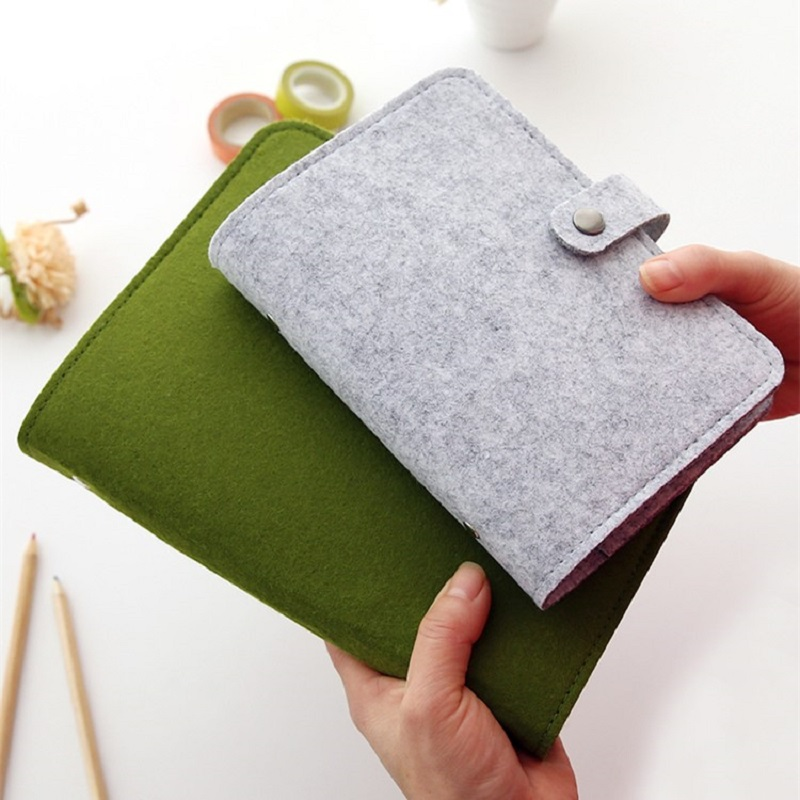 Harphia A5 A6 Simple Snap Felt Fabric Notebook Diary Creative Binder Office Supplies Ring Binder