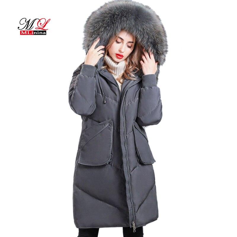 MLinina 2018 New Winter Down Jacket Women Big Fur White Duck Down   Parka   Female Warm Winter Coat Women Jacket Hooded Snow OutWear