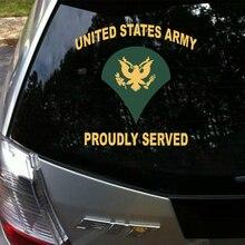 Carro styling Aliauto Exército Dos Estados Unidos Servido Orgulhosamente Etiqueta & decal Acessórios Do Carro para Volkswagen Polo Golf Audi A3 ford Focus