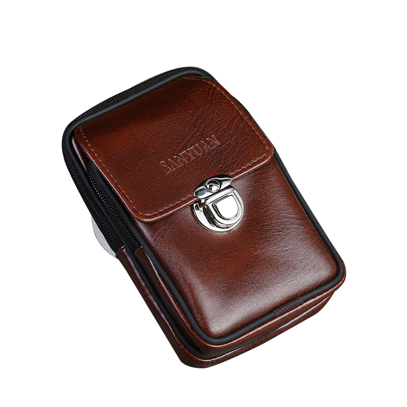 Fashion Mens Pu Leather Waist Belt Bag Wear-Resistant Buckle Design Business Zipper Mobile Phone Bag Small Box Packs