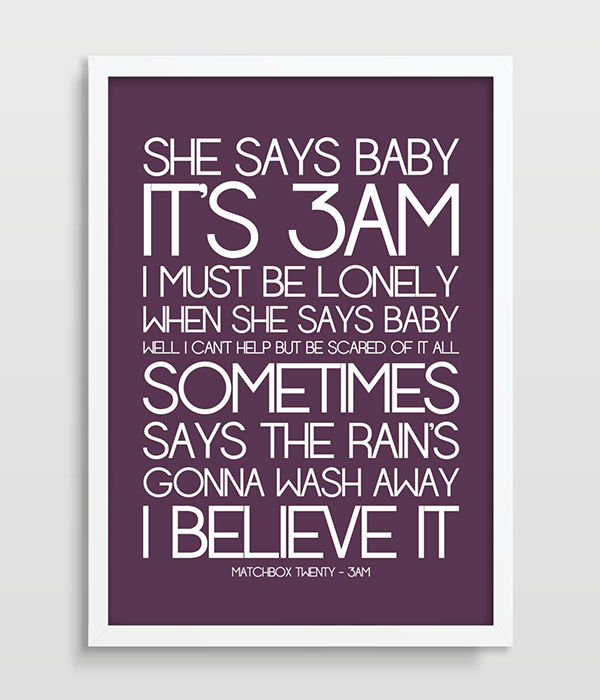 Song Lyrics Matchbox Twenty 3am Wall Decor Poster Gift For