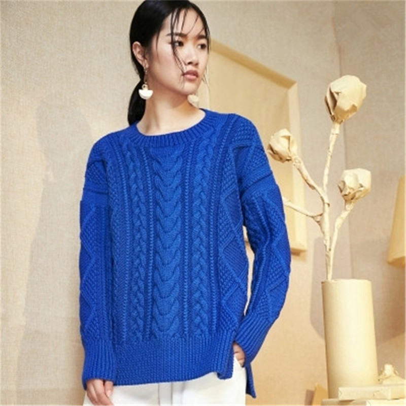 100% Hand Made Pure Wool Oneck Knit Women Fashion Open Hem Solid Loose Twisted Pullover Sweater White 5color Customized
