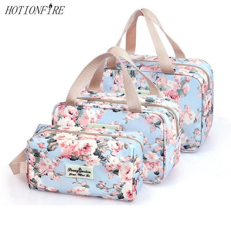 Floral Organizer Large-capacity Cosmetic Bag Travel Makeup Storage Bag Beam Magic Pouch Web Celebrity Style Box Wash Bag