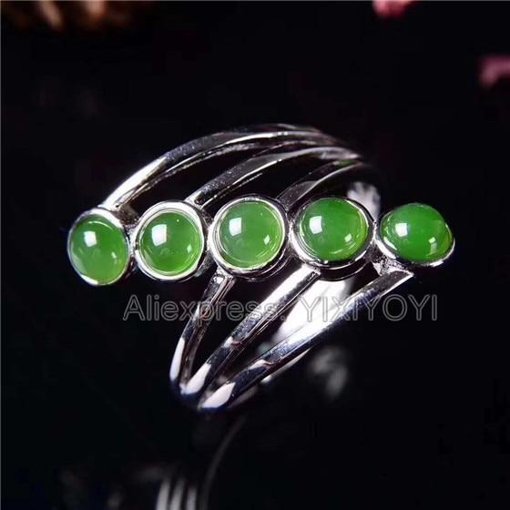 Beautiful 925 Sterling Silver Green HeTian Jade Beads Inlay Jasper Line Design Ring Adjustable Girl s