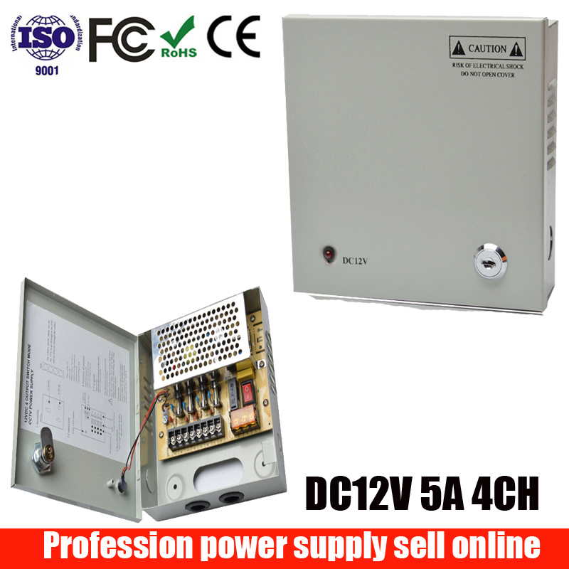 4CH Port DC12V 5A CCTV Camera Power Box Switching Power Supply For Video Surveillances Camera System 4 Channel AC100-240V Input