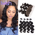 Iwish Human Hair Bundles With Frontal Brazilian Body Wave With Frontal Brazilian Virgin Hair Weave Bundle Deals With Closure