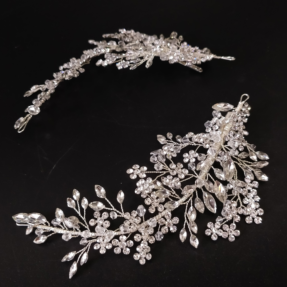 Image 5 - Luxury Crystal Bridal Headpiece Barrettes Hair Clips Vine  Rhinestone Floral Wedding Hair Accessories Brides Hair Jewelry 2019Hair  Jewelry