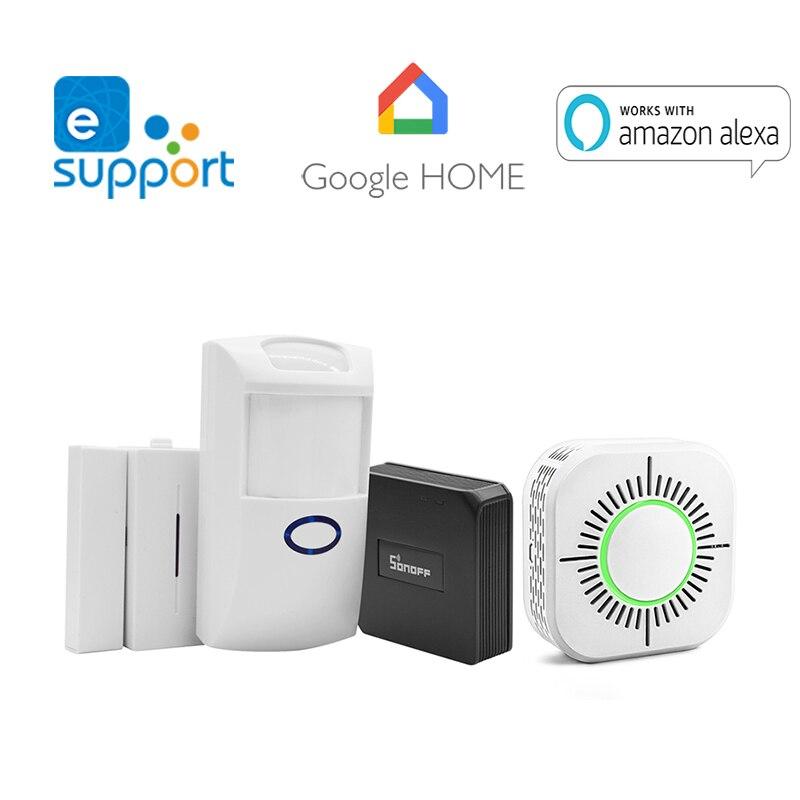 Sonoff rf brigde wi fi 433 mhz sem fio conversor de sinal detector fumaça dw1 sensor porta pir2 pir sensor movimento para casa inteligente