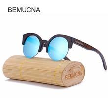 2017 New BEMUCNA Cat Eye Sunglasses Women Brand Designer Semi-Rimless Wood Sunglasses Men Bamboo Sun Glasses For Women
