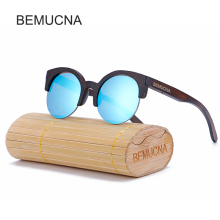 2017 New BEMUCNA Cat Eye Sunglasses Women Brand Designer Semi-Rimless Wood Sunglasses Men Bamboo Sun Glasses For Women