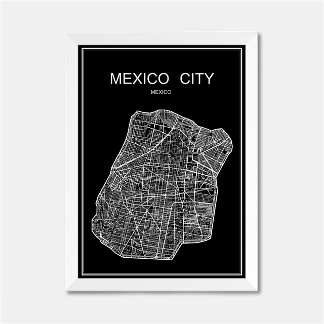 mexico city world map poster abstract vintage paper wall sticker bar cafe pub living room bedroom
